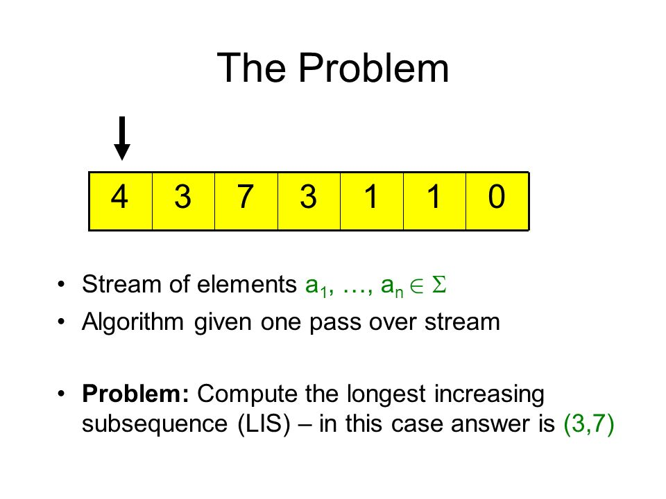 The Problem 4 3 7 3 1 1 Stream of elements a1, …, an 2 