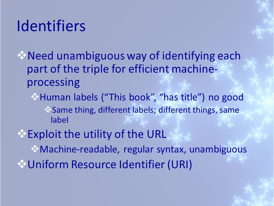 IdentifiersNeed unambiguous way of identifying each part of the triple for efficient machine-processing.