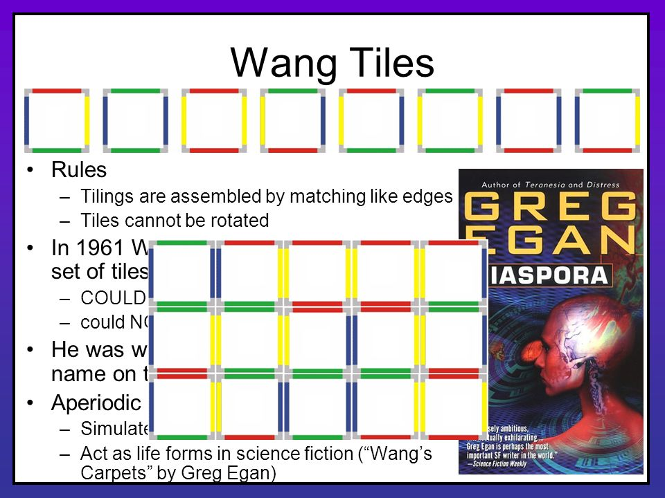 Wang Tiles Rules. Tilings are assembled by matching like edges. Tiles cannot be rotated.