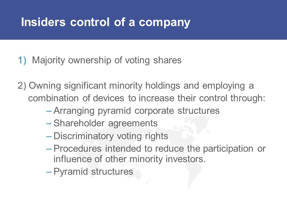 Insiders control of a company