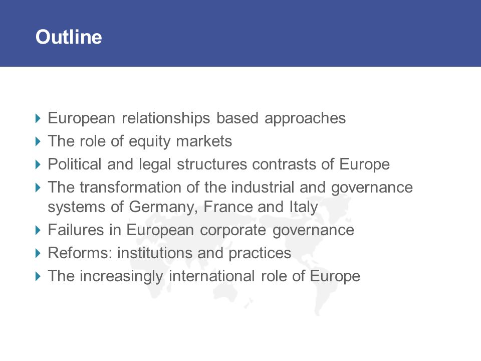 Outline European relationships based approaches