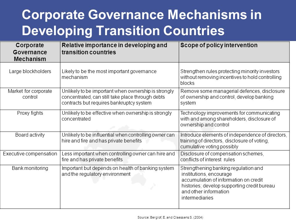 Corporate Governance Mechanisms in Developing Transition Countries