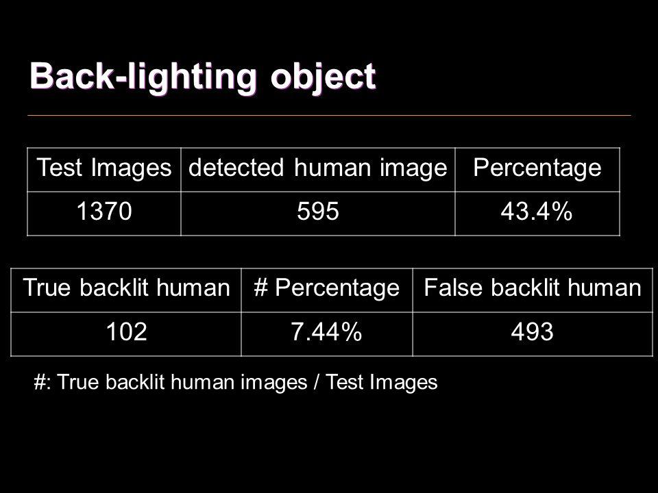 Back-lighting object Test Images detected human image Percentage 1370