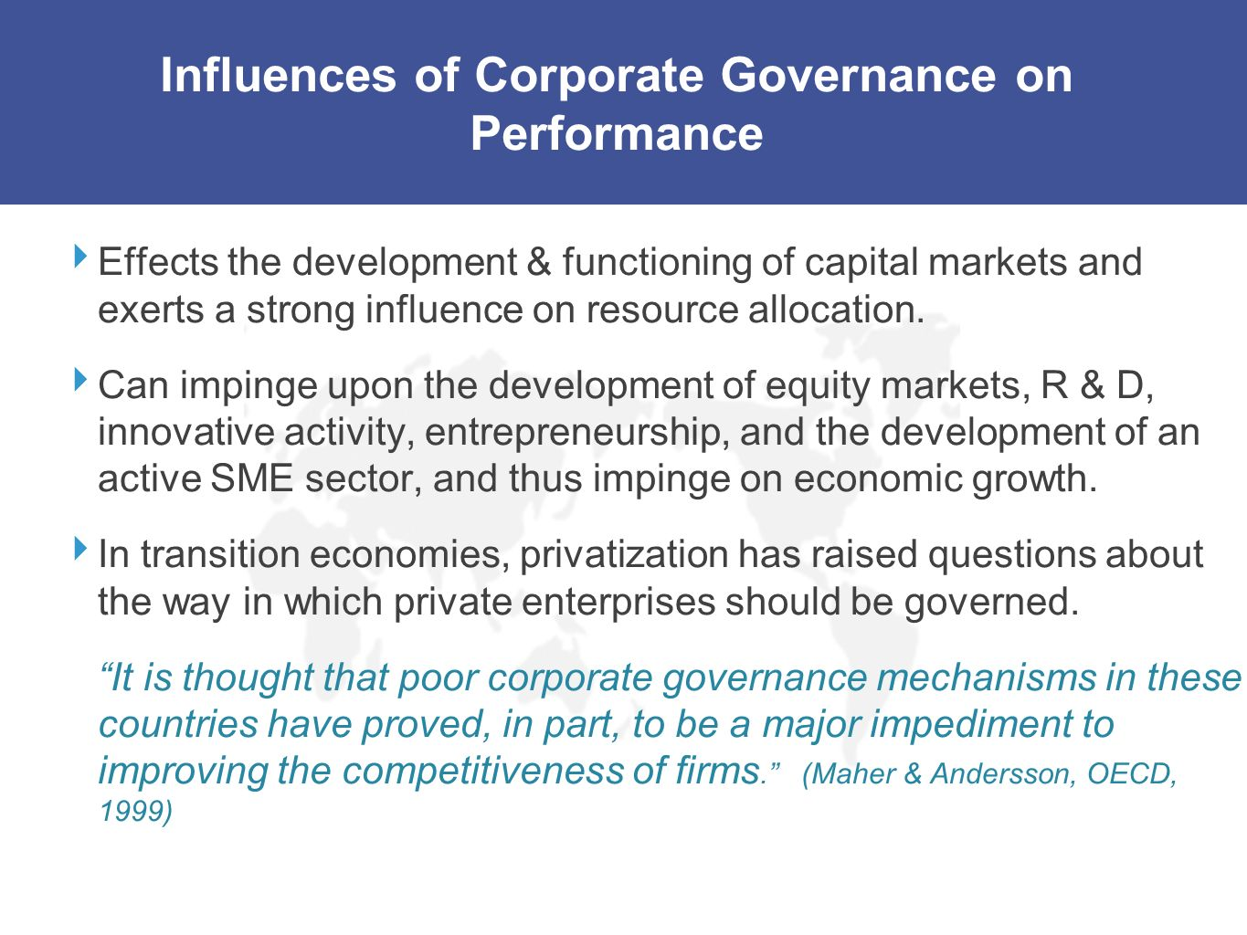 Influences of Corporate Governance on Performance