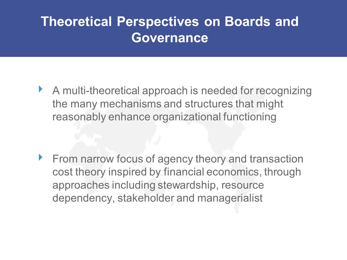 Theoretical Perspectives on Boards and Governance