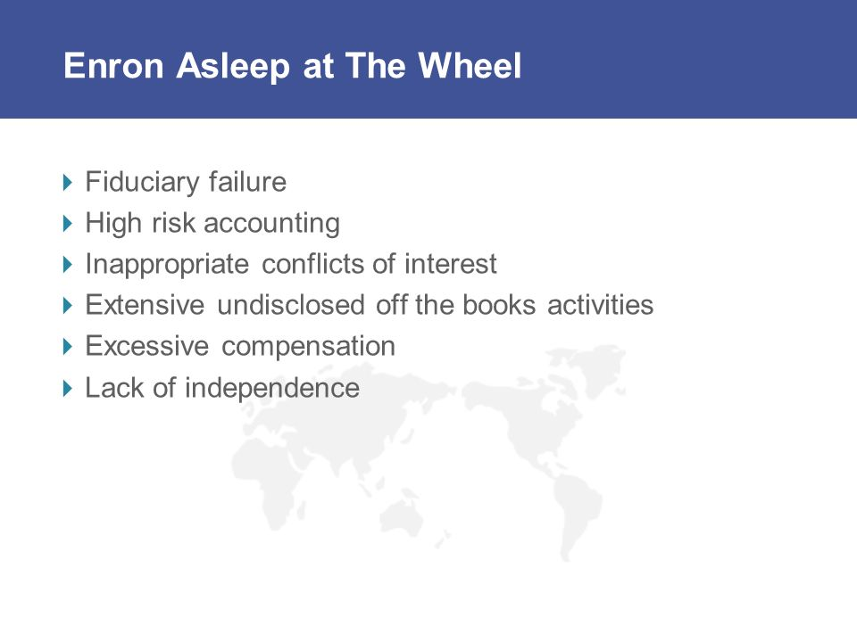 Enron Asleep at The Wheel