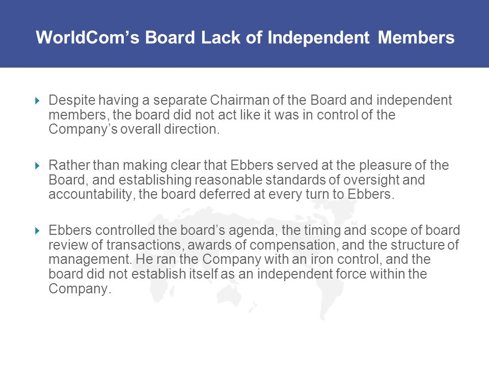 WorldCom's Board Lack of Independent Members