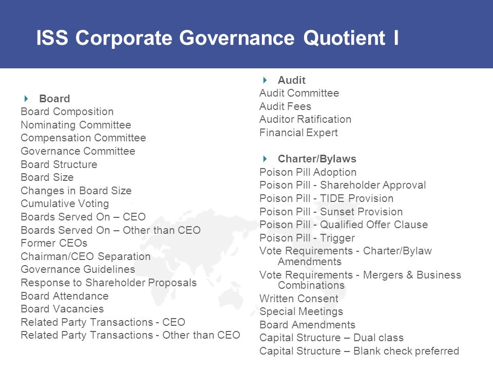 ISS Corporate Governance Quotient I