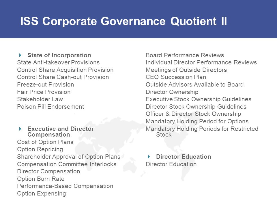 ISS Corporate Governance Quotient II