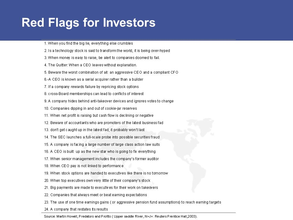 Red Flags for Investors