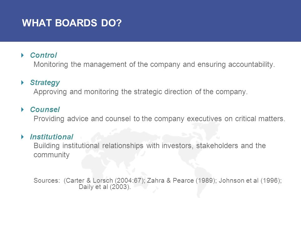 WHAT BOARDS DO Control. Monitoring the management of the company and ensuring accountability. Strategy.