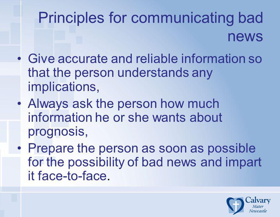 Principles for communicating bad news