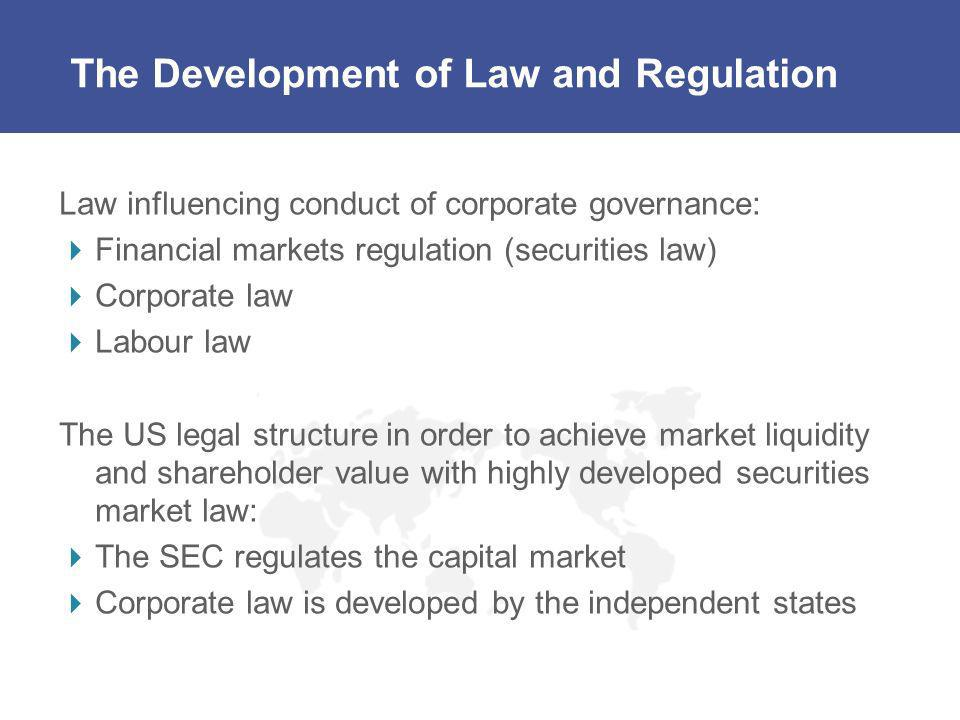 The Development of Law and Regulation