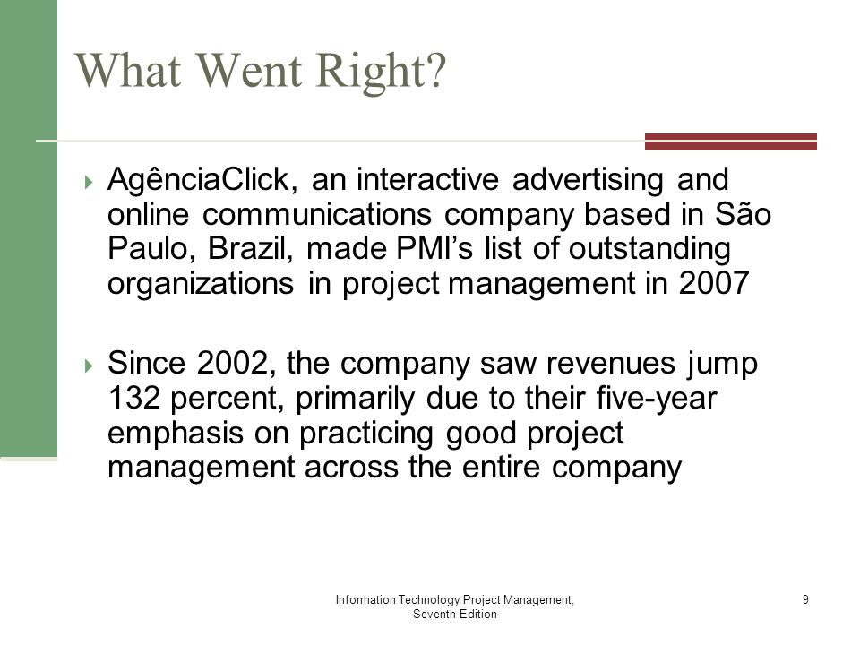 information technology management case study 1 Learn more about the online ms in information technology management offered by the kelley school of business at indiana university  study of information systems .