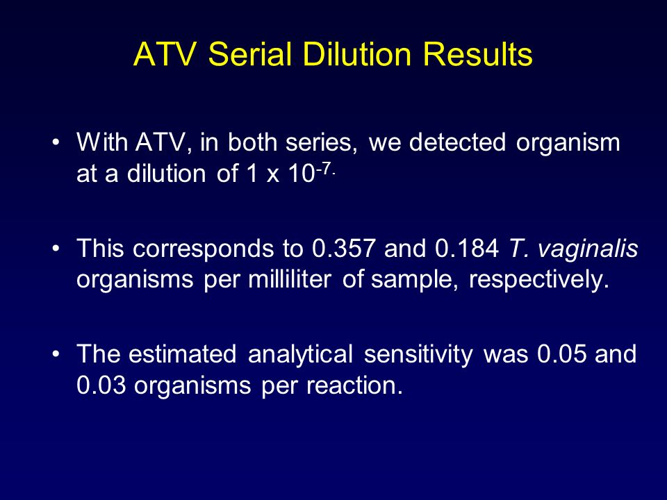 ATV Serial Dilution Results