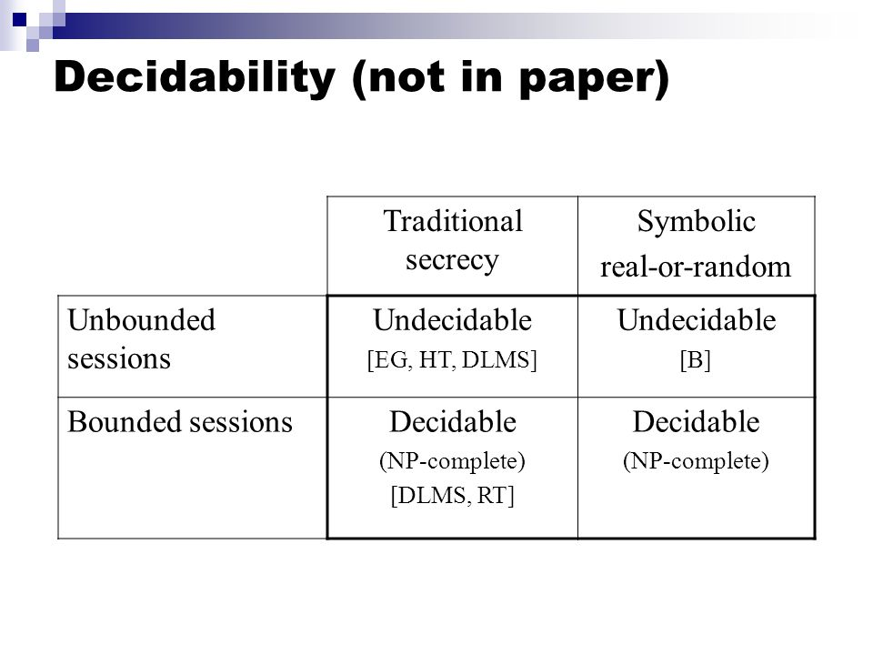 Decidability (not in paper)