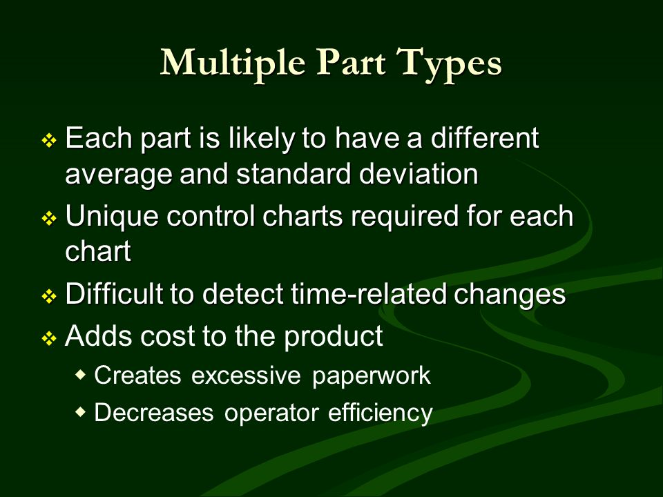 Multiple Part Types Each part is likely to have a different average and standard deviation. Unique control charts required for each chart.