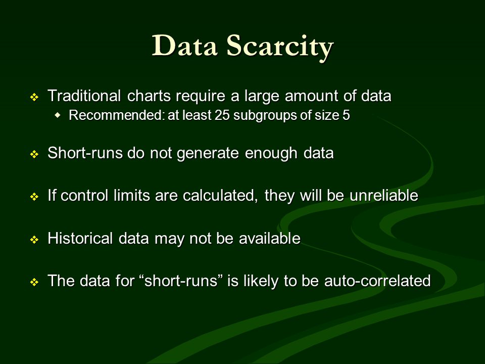 Data Scarcity Traditional charts require a large amount of data