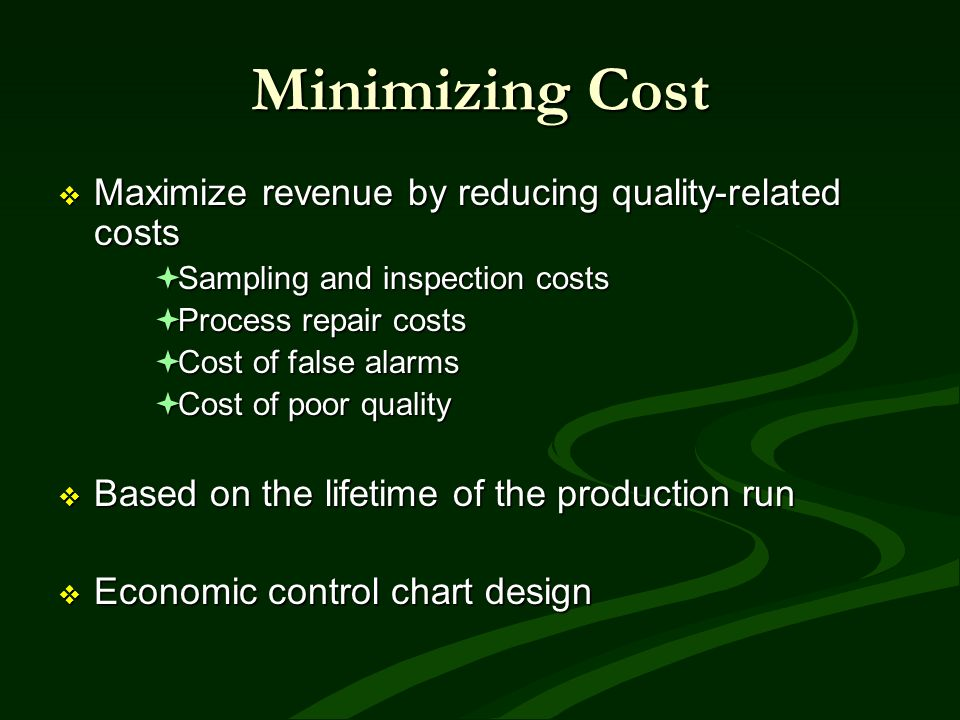 Minimizing Cost Maximize revenue by reducing quality-related costs