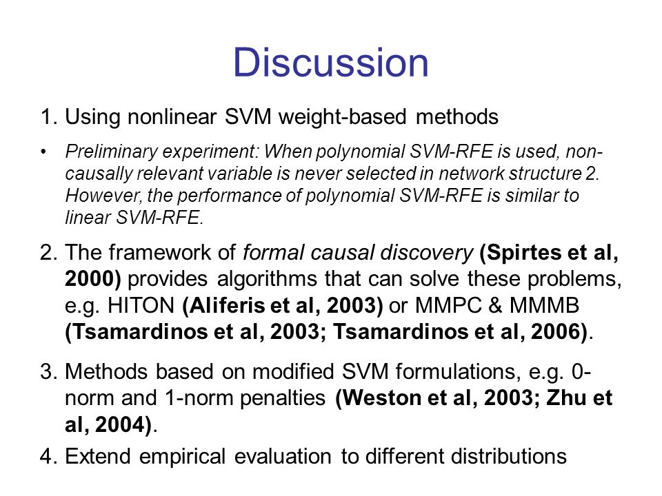 Discussion Using nonlinear SVM weight-based methods