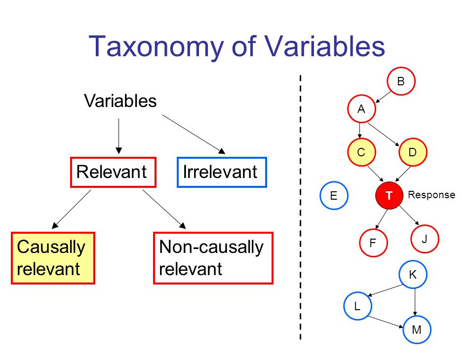 Taxonomy of Variables Variables Relevant Irrelevant Causally relevant