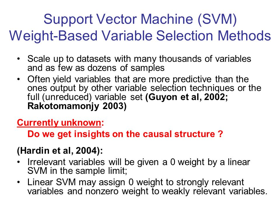 Support Vector Machine (SVM) Weight-Based Variable Selection Methods