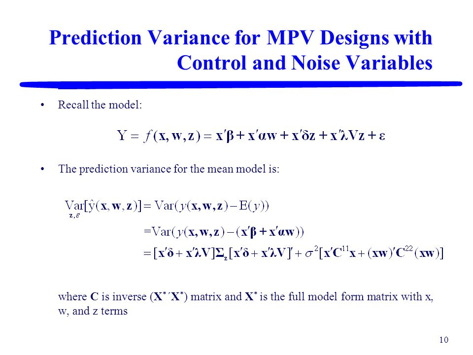 Prediction Variance for MPV Designs with Control and Noise Variables