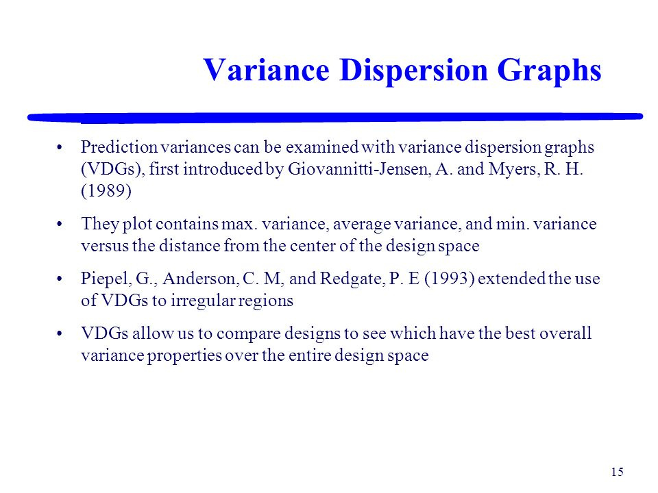 Variance Dispersion Graphs