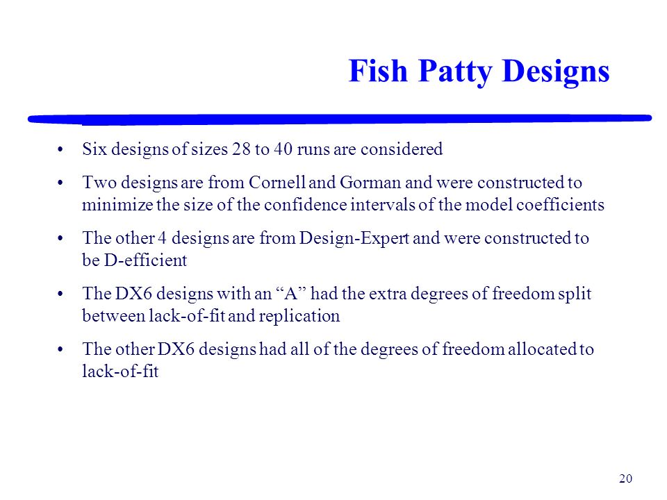 Fish Patty Designs Six designs of sizes 28 to 40 runs are considered
