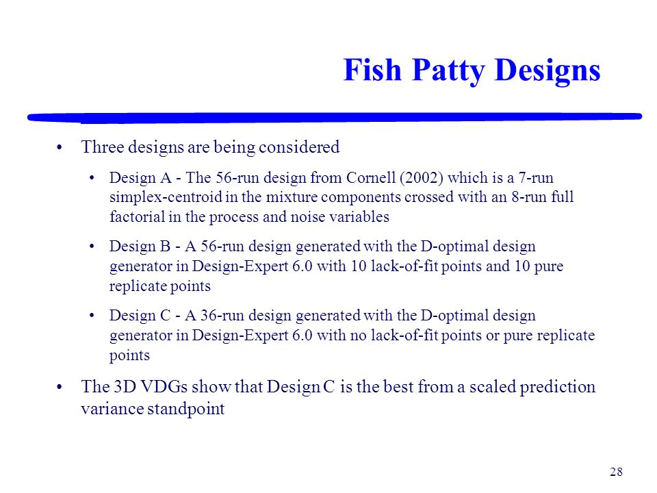Fish Patty Designs Three designs are being considered