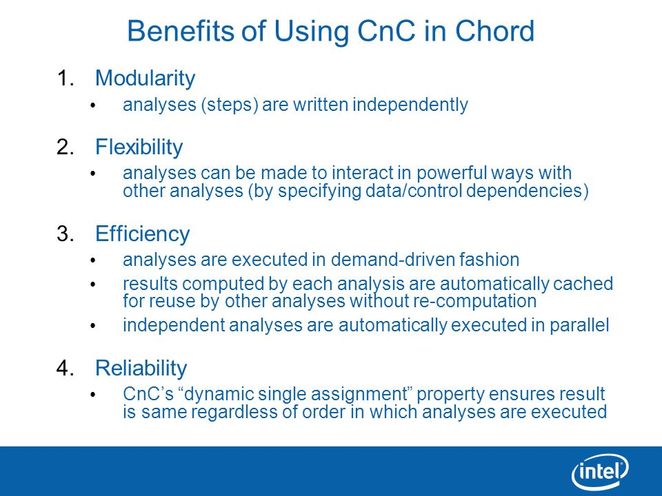 Benefits of Using CnC in Chord
