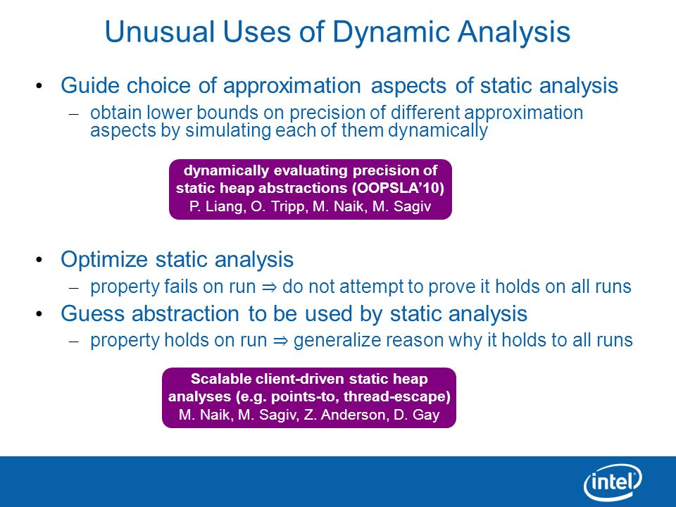 Unusual Uses of Dynamic Analysis