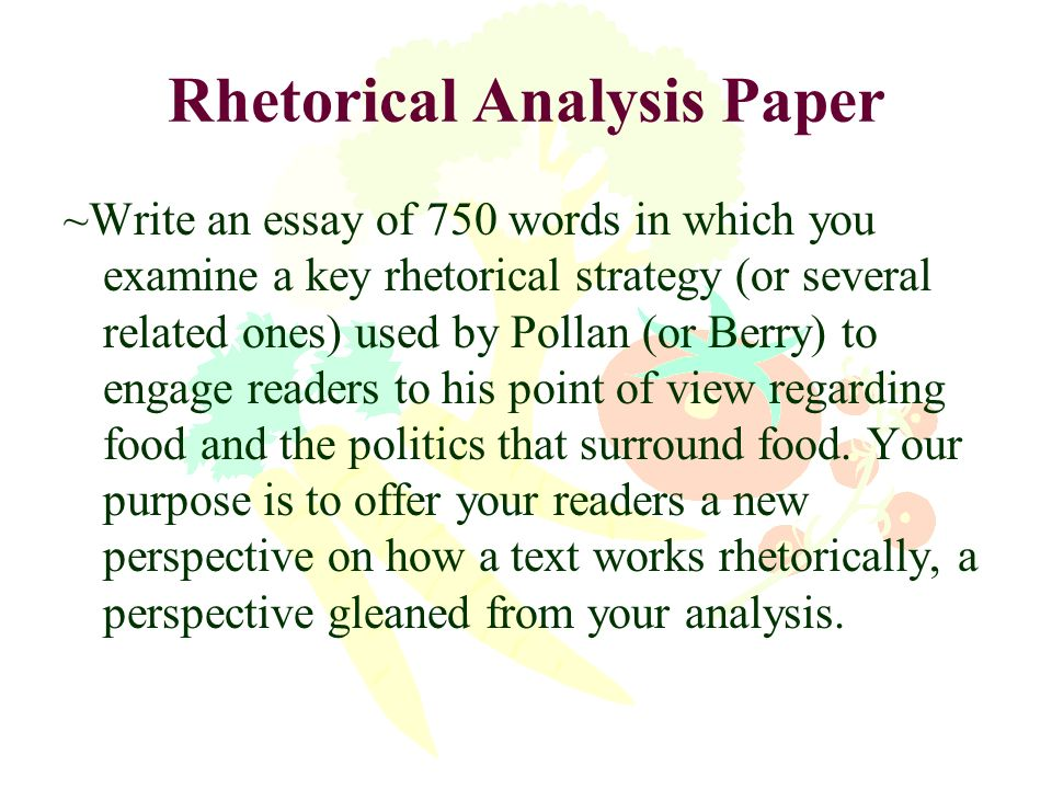the politics of food ppt  28 rhetorical analysis paper