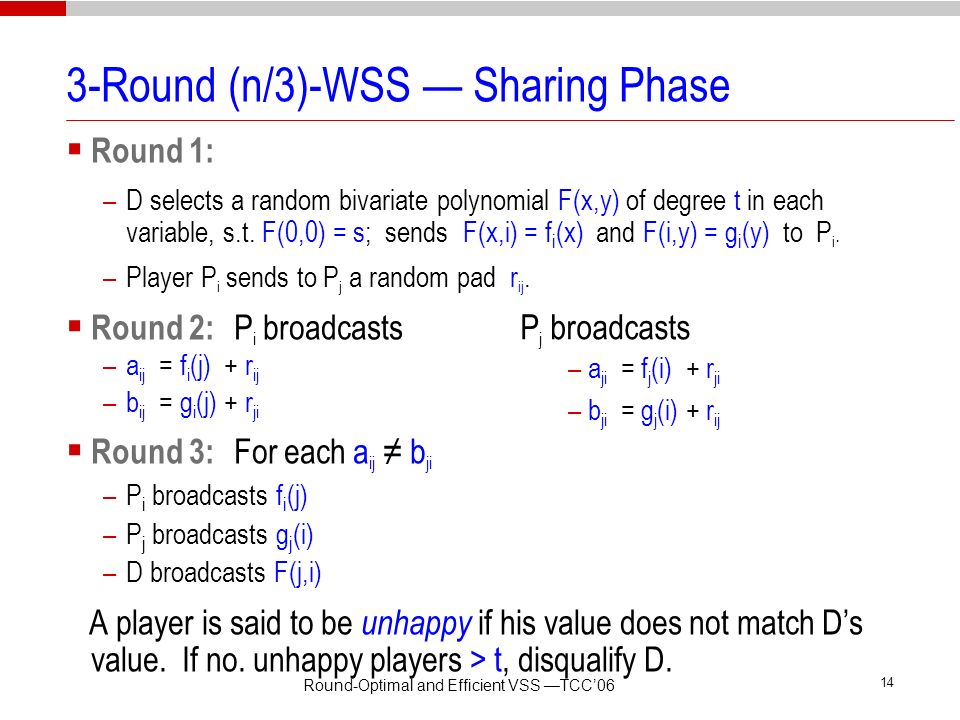 3-Round (n/3)-WSS — Sharing Phase