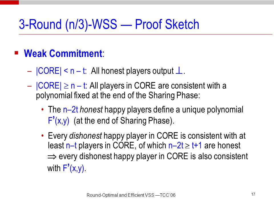 3-Round (n/3)-WSS — Proof Sketch