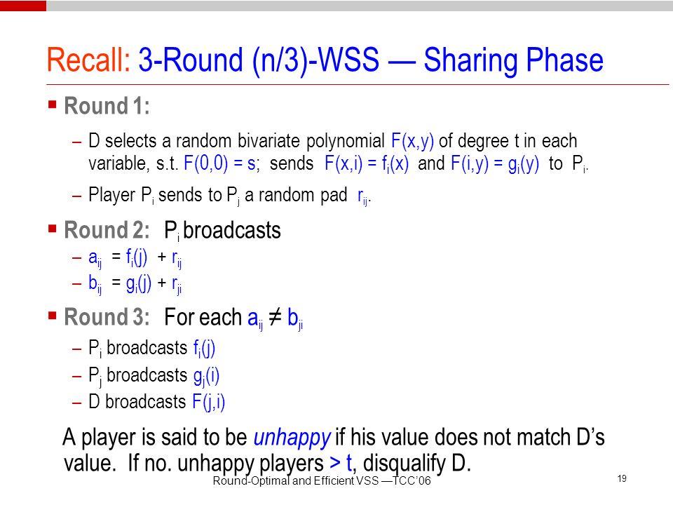 Recall: 3-Round (n/3)-WSS — Sharing Phase