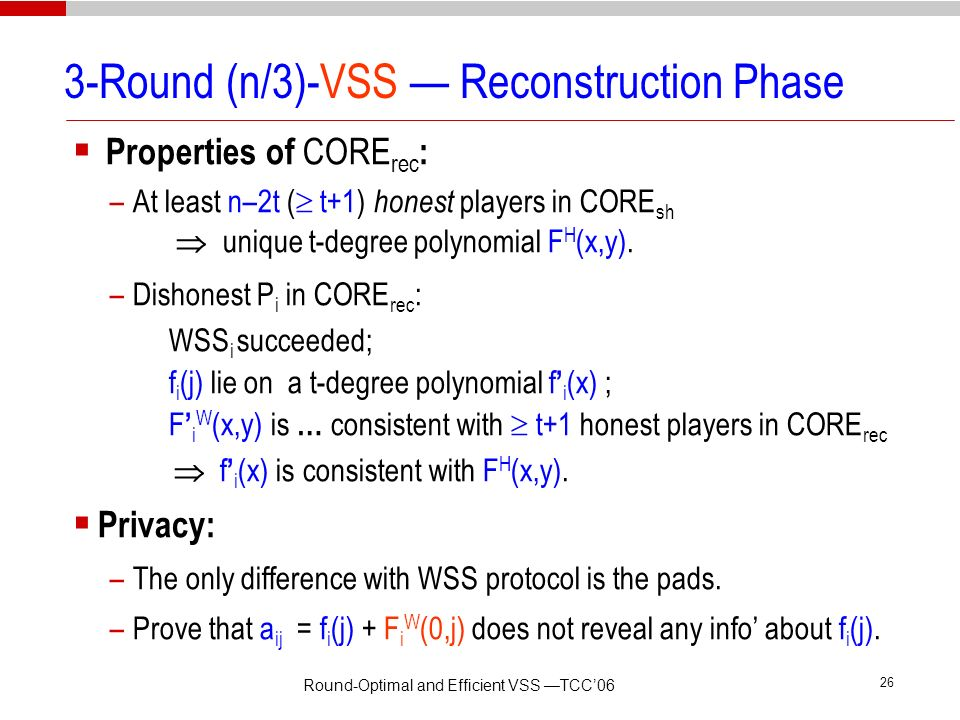 3-Round (n/3)-VSS — Reconstruction Phase