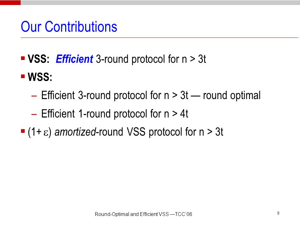 Round-Optimal and Efficient VSS —TCC'06