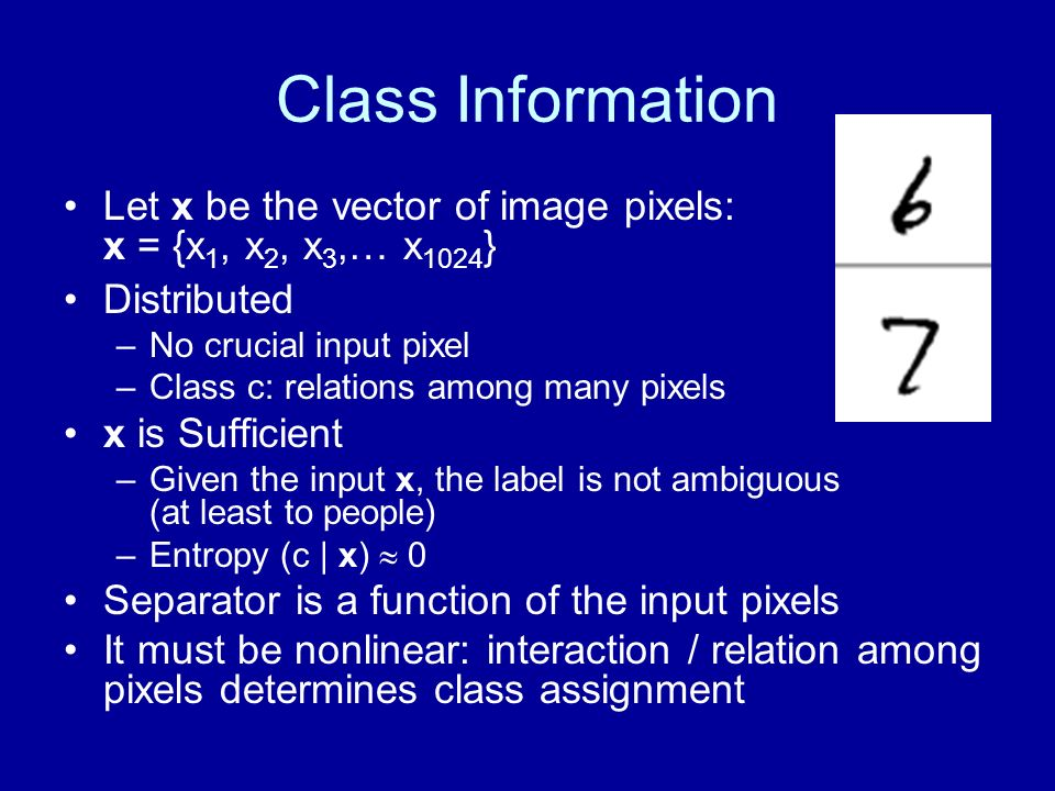 Class Information Let x be the vector of image pixels: x = {x1, x2, x3,… x1024} Distributed. No crucial input pixel.