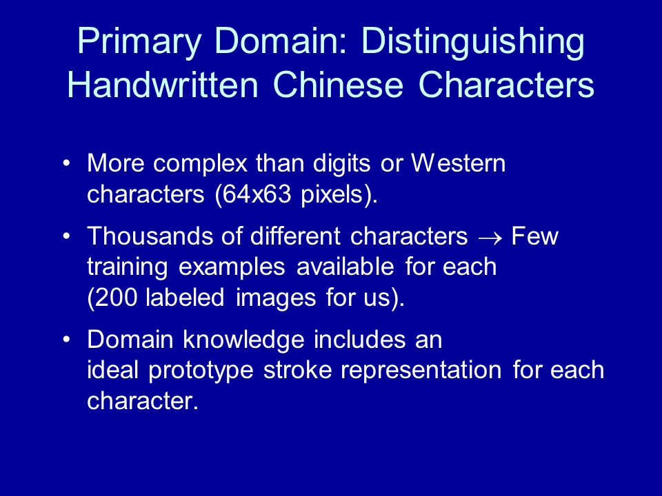 Primary Domain: Distinguishing Handwritten Chinese Characters
