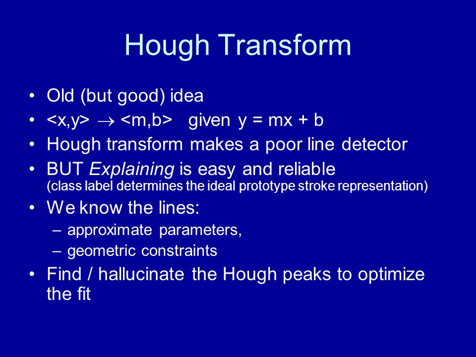 Hough Transform Old (but good) idea