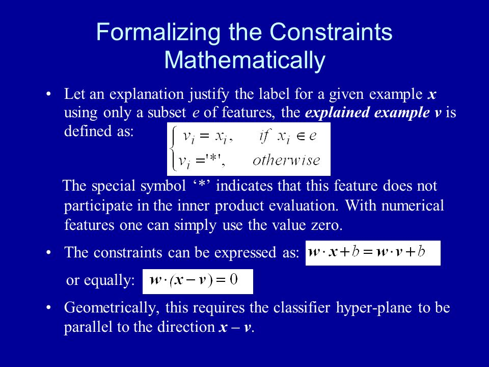 Formalizing the Constraints Mathematically