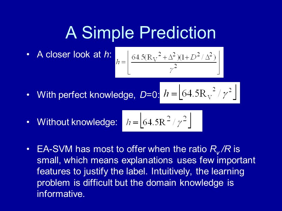A Simple Prediction A closer look at h: With perfect knowledge, D=0: