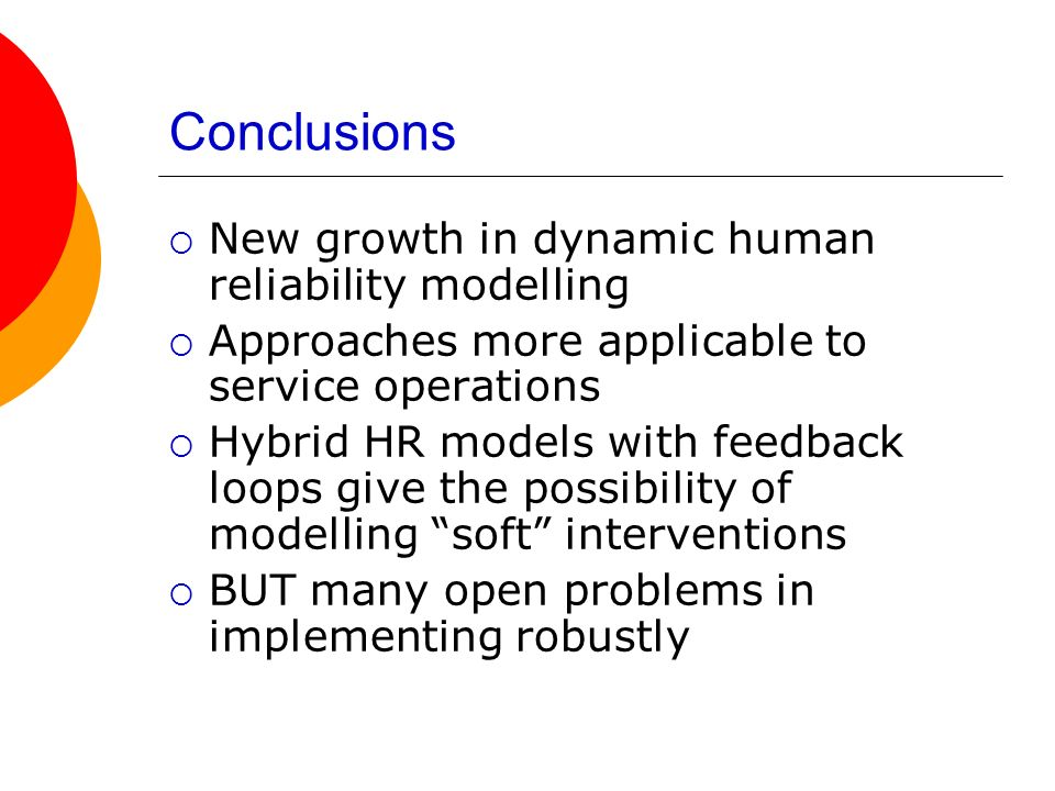 Conclusions New growth in dynamic human reliability modelling