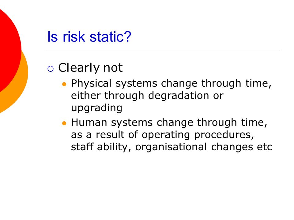 Is risk static Clearly not