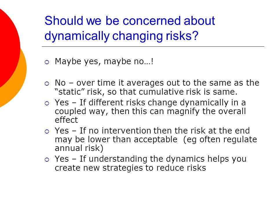 Should we be concerned about dynamically changing risks