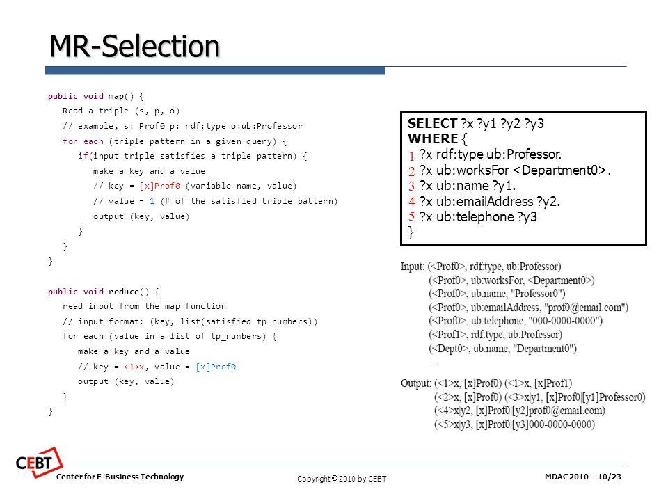 MR-Selection 1 2 3 4 5 SELECT x y1 y2 y3 WHERE {