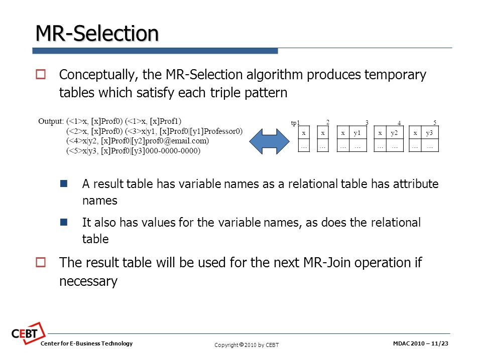 MR-Selection Conceptually, the MR-Selection algorithm produces temporary tables which satisfy each triple pattern.