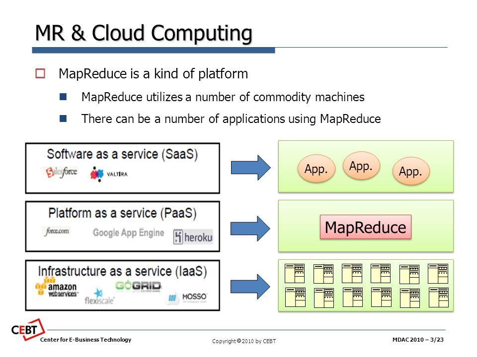 MR & Cloud Computing MapReduce MapReduce is a kind of platform