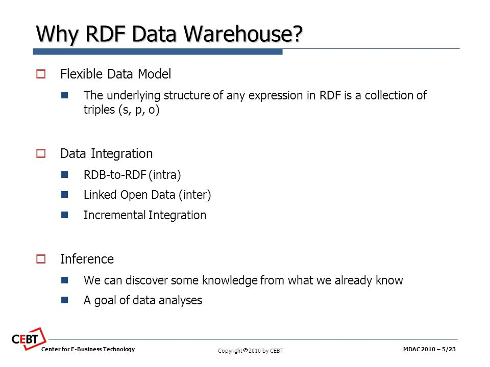 Why RDF Data Warehouse Flexible Data Model Data Integration Inference